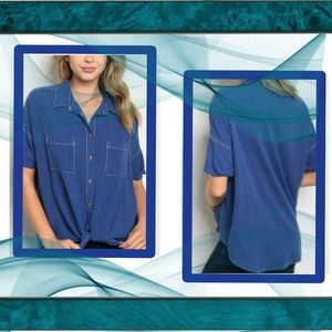 New Short Sleeve Tunic Button Up